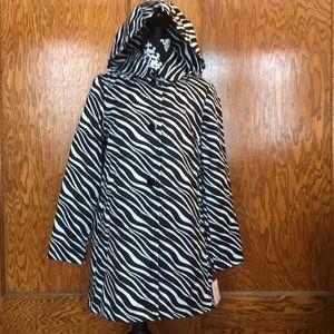 Kate Spade Zebra Rain Coat Water Resist sz M NWT